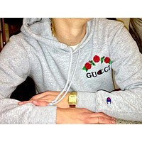 GUCCI : Champion flower rose print sweater grey hoodie pullover Grey F