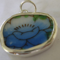 Blue Flower Broken China Necklace Pendant  Chaney Sterling Blue Flower Pendant  Fused Glass