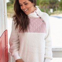 Ivory and Blush Fuzzy Pullover
