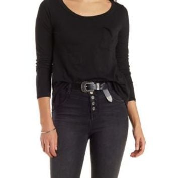 Marled High-Low Long Sleeve Tee with Pocket