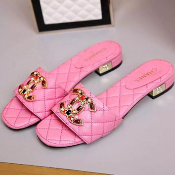 CHANEL Slippers Plaid Women Fashion Leather Sandals  Shoes B-ALS-XZ Pink