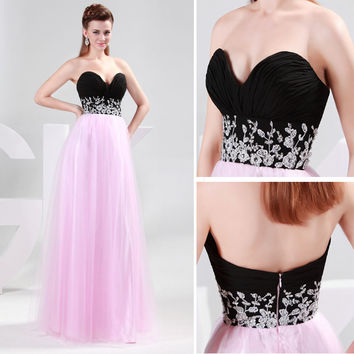 FREE SHIP Sweet Sequins Beaded Evening Formal Ball gown Party Prom Dresses Long