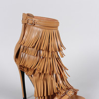 Privileged Layered Fringe Stiletto Heel