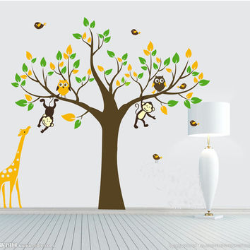 Monkey owl giraffe tree Wall decals tree wall Stickers kids room decal owl tree with birds wall art baby decal nursery decal room decor