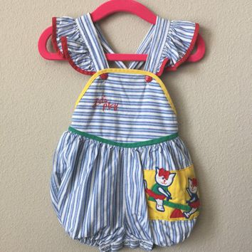 infant sunsuit - vintage romper - baby one piece - vintage kids clothes - baby clothes - bubble romper - playsuit