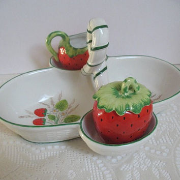 Vintage Strawberry Server Italian Ceramic Basket with Strawberry Sugar and Creamer Serving Dish