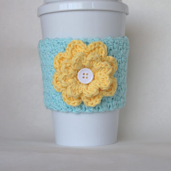 Crochet Flower Coffee Cup Cozy Robin's Egg Blue and Yellow