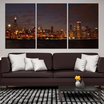 99942 - Chicago Wall Art Canvas Print - Extra Large Chicago City Night Canvas Print