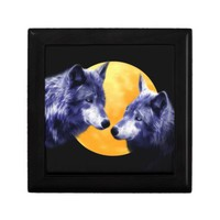 Wolves at full moon jewelry boxes