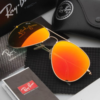 Ray Ban Aviator Sunglass Gold Orange Mirrored RB 3025 112/19