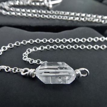 Simple Herkimer Diamond Choker Necklace, Minimalist Necklace, Quartz and Sterling Silver Necklace, Raw Crystal Necklace, Wire Wrapped Quartz