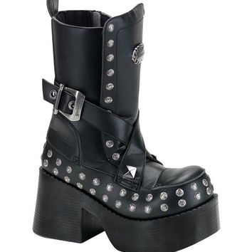 Pleaser Female 3 1/2 Platform Goth Punk Boot With Stud Buckle Detail And Zipper PLA205