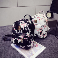 Backpack 2016 Hot Sale Fashion Causal Floral Printing Backpacks PU Leather Backpack For Teenagers Girls