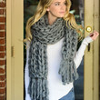 Chunky Braid Knit Scarf - Grey