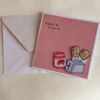 Hello Card, Popping By To Say Hi Card Including Embellished Envelope - Toaster Hi, Friendship Card