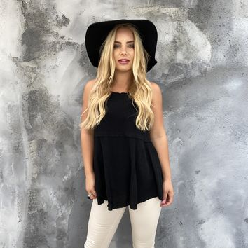 Split Apart Linen Top in Black