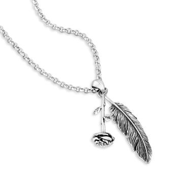 Rose and Feather Pendant Necklace
