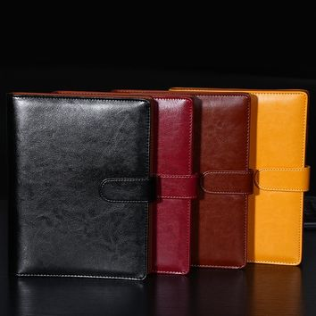 A5  notebook Faux leather loose-leaf notepad Black Red Yellow Brown Organizer Planner Office Stationery Notepad