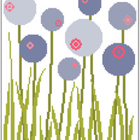 Contemporary meadow flowers. Modern cross stitch. Retro inspired pattern.