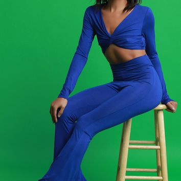 Jersey Twist Front Crop Top With Bell Bottom Pants Set