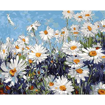 Frameless White Flowers DIY Painting By Numbers Modern Wall Art Picture Acrylic Paint Unique