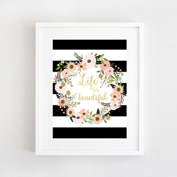 Wall Art Print Floral Flowers Black and White Stripes Printable Gold Foil Decor Custom Typography Bohemian Quote Poster (INSTANT DOWNLOAD)