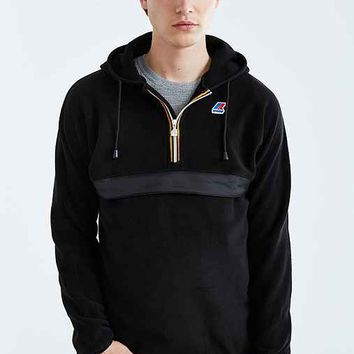K-Way Half-Zip Hooded Anorak Jacket- Black
