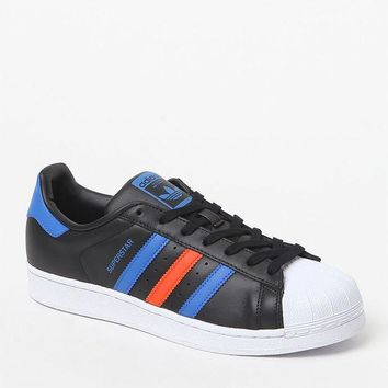 ICIKJH6 adidas Superstar 80s Black and Blue Shoes