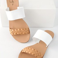 Caylee Tan and White Nappa Leather Slide Sandals