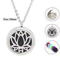 20mm 25mm 30mm magnetic diffuser pendant necklace 316 Stainless steel aromatherapy perfume locket necklace essential oil jewelry