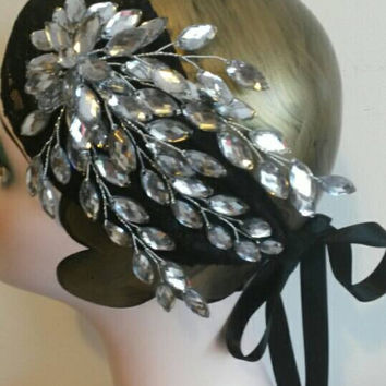 wedding black, 20s, gypsy, pirate, feather, gatsby party, ladies headband, headpiece, hair