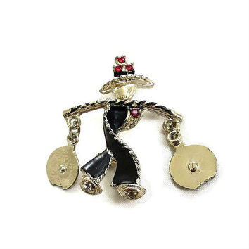 Black Enamel & Red Rhinestone Asian Water Carrier Scatter Pin Vintage Coolie