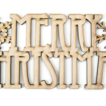 Merry Christmas Sign with snowflakes DIY wooden cut out