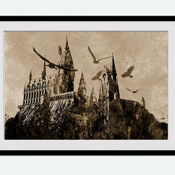 Hogwarts watercolor print Harry Potter colorful poster Hogwarts castle poster Home decor gift Kids room Hogwarts vintage art  W179