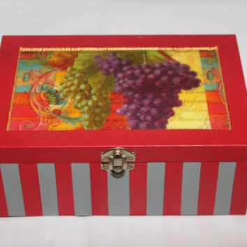 Wooden box - treasure box - recipe box - keepsake box - memory box - jewelry box - wedding memory box - tea box - red and grey box - grapes