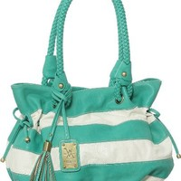 Vitalio Vera StCroix Tote Turquoise Striped Big & Large Shoulder Bag