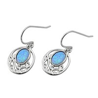 Sterling Silver Filigree Dangle Light Blue Opal Earrings