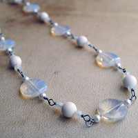 Winter Glass Beaded Necklace Ice Jewelry Wire Wrapped