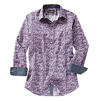 Cremieux Jeans Long-Sleeve Paisley Woven Shirt - Purple