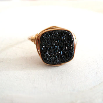Druzy Ring Black Starlit Vitrine Cocktail Ring Cushion ring Gift for her Under 50