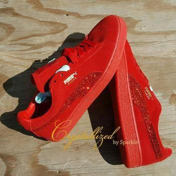 Swarovski Crystal Bling Bling Puma Sneakers Shoes Any Color (Classic Style)