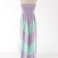 Queen Of Chevron Maxi Dress -Lavender/Mint *FINAL SALE*