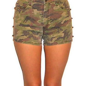 Tripp NYC Camo Military Skinny Jean Stud Shorts Women