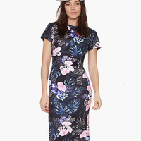 Black Floral Print Short Sleeve Backless Bodycon Midi Dress