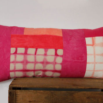 Patchwork Shibori Pillow Cover- coral pink, salmon and dragon fruit shibori patchwork cushion, one of a kind bolster pillow