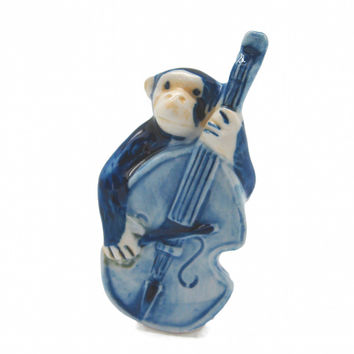 Miniature Musical Instrument Blue Monkey With Bass