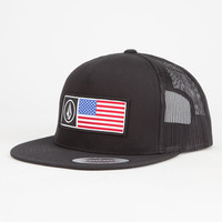 Volcom Stone Flag Mens Trucker Hat Black One Size For Men 26620610001