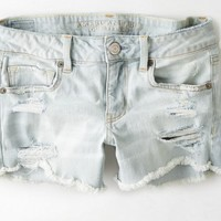 AEO Women's Denim Midi Short (Light Destroy Wash)