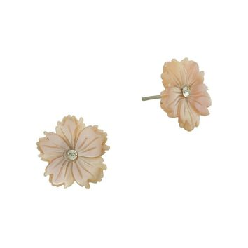 Mother of Pearl Flower Earrings in Blush