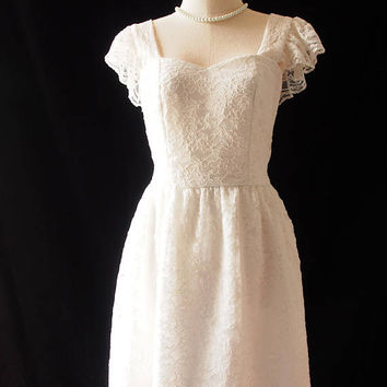 OLIVIA - White Lace Dress Bridal Dress Short Bridal Dress Vintage Wedding Dress Ruffle Straps Back Zipper Dress White Prom Dress